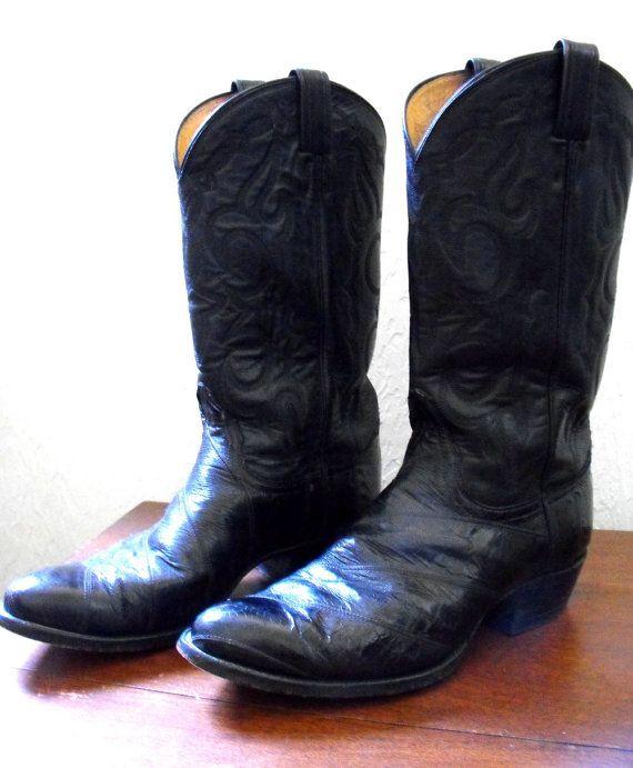 6a00da8ed34 Vintage Tony Lama Eel Skin Cowboy Boots in Black - Mens 10 1/2 - Men ...