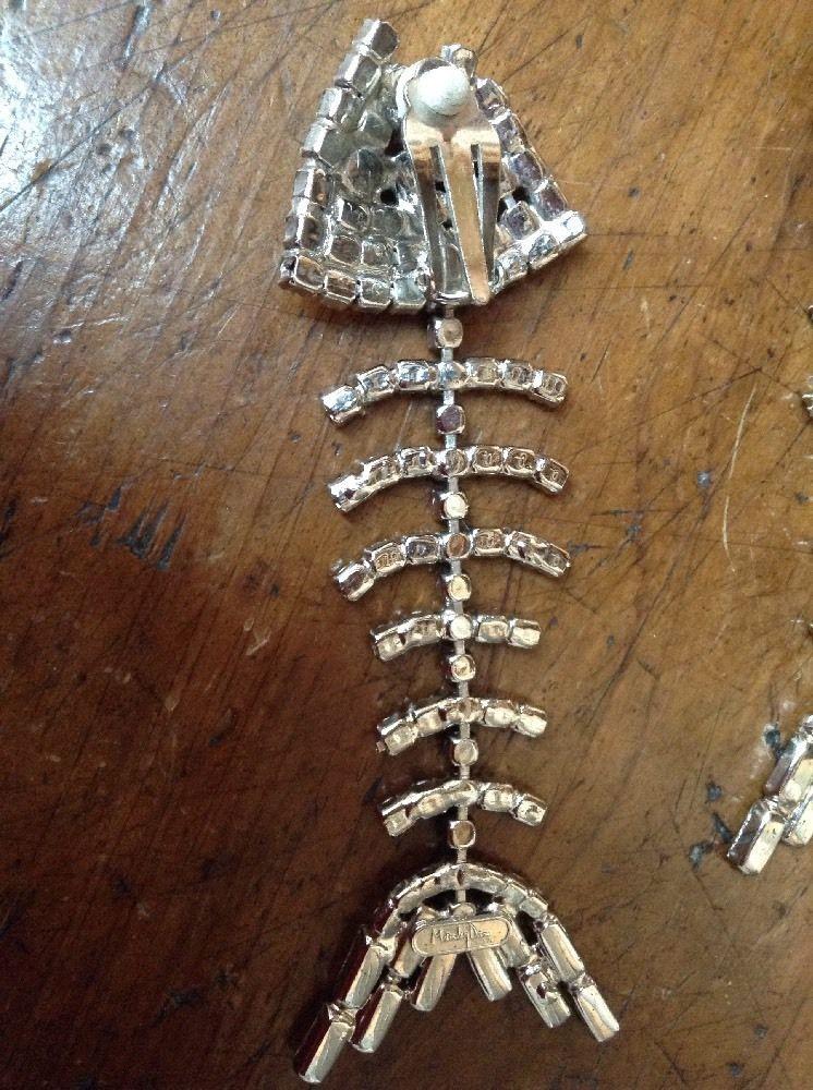 Pair Paste Set Fish Skeleton Pendant Drop Clip Earrings By