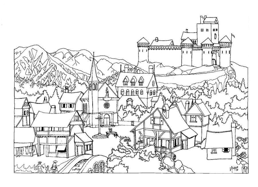 Line Art Village : Medieval village by nriqueguerra on deviantart книжная