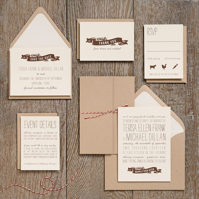 Bakers Twine Wedding Invitation: Another Craft Paper Option. Love The Twine! Wedding