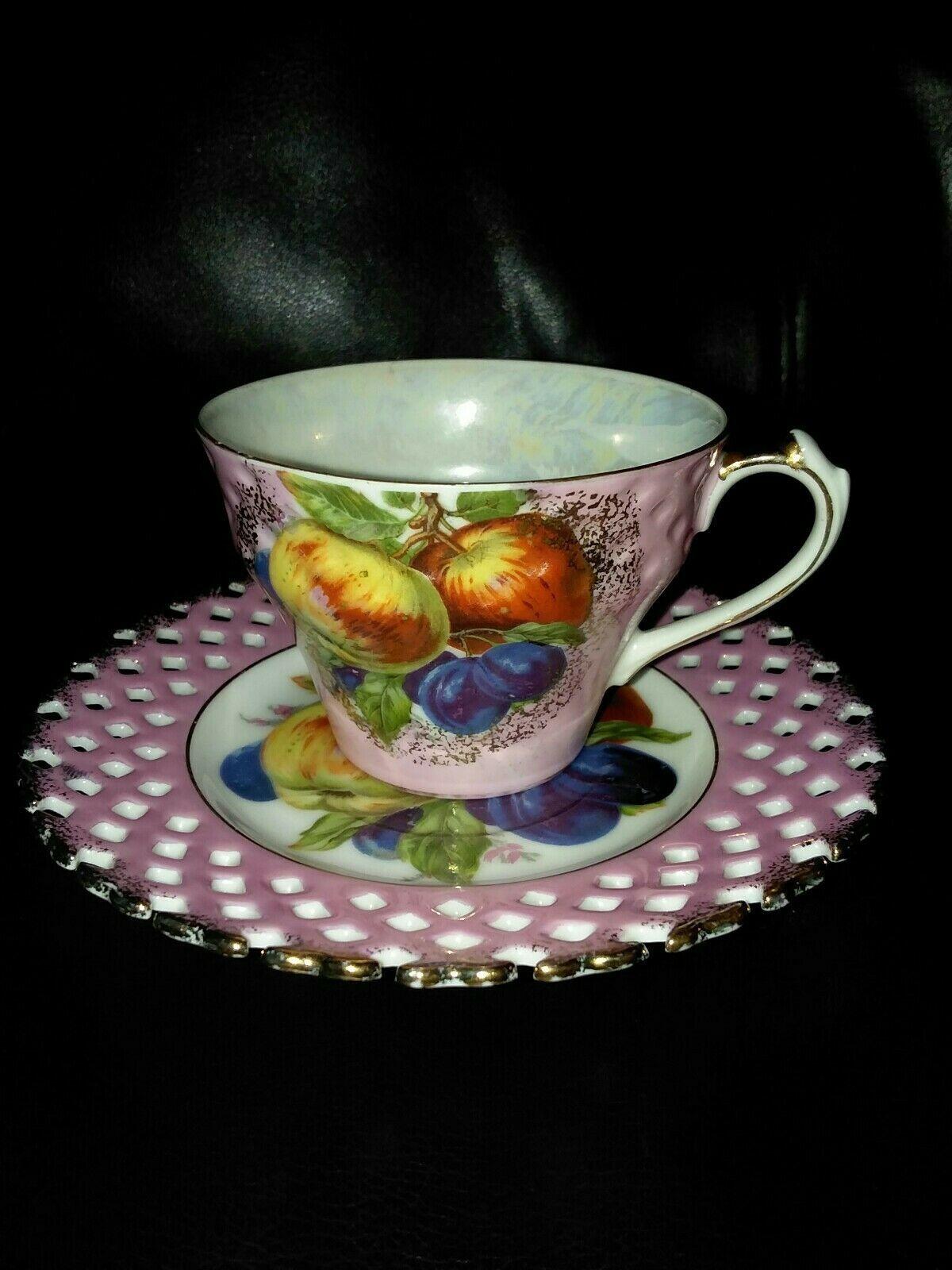 ROYAL HALSEY Very Fine China Tea Cup Saucer Pink Purple