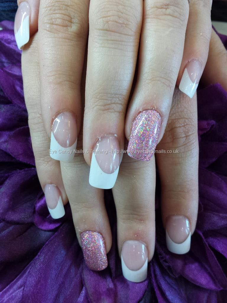 White French Tips With Acrylic Overlay And Pink Glitter Ring Finger