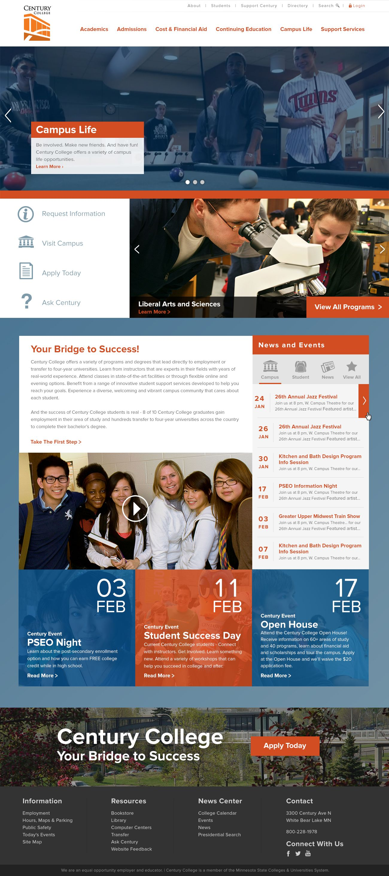 Century College Website Webdesign Rocket55designs Rocket55 Digital Mpls Mn Web Design User Experience Design Student Success