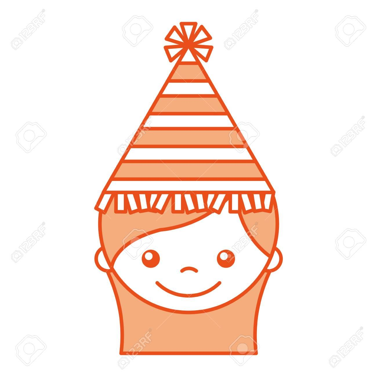 cute girl with party hat character icon vector illustration design , #spon, #party, #hat, #cute, #girl, #character