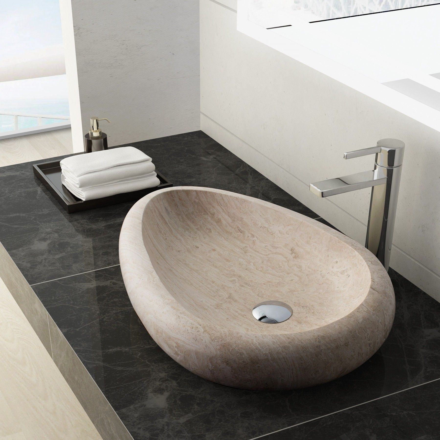 Colstrip Stone Vessel Sink White Travertine Stone Vessel Sinks Sink Travertine Sinks