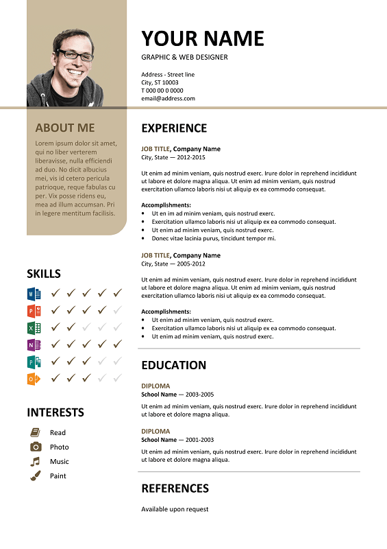 Resume Layout Microsoft Word Bayview Free Resume Template Microsoft Word  Brown Layout  Classic .