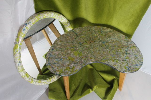 Decoupage oval mirror and matching side table £54.00