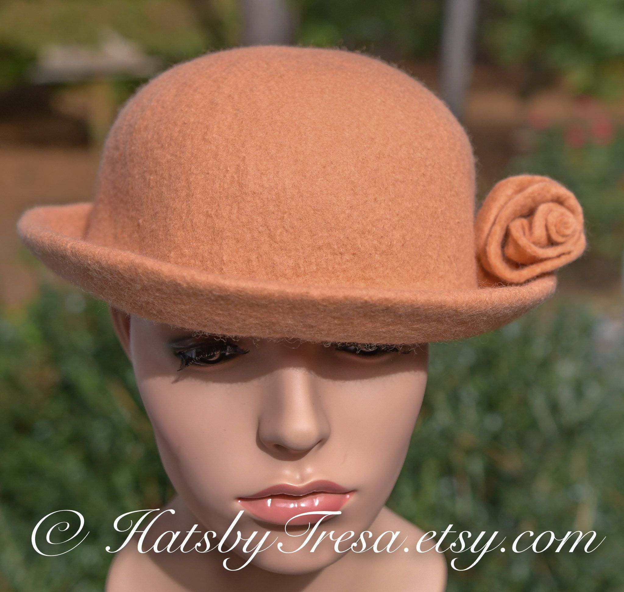 4c4b77204e5 Cantaloupe Bowler Hat by HatsbyTresa on Etsy