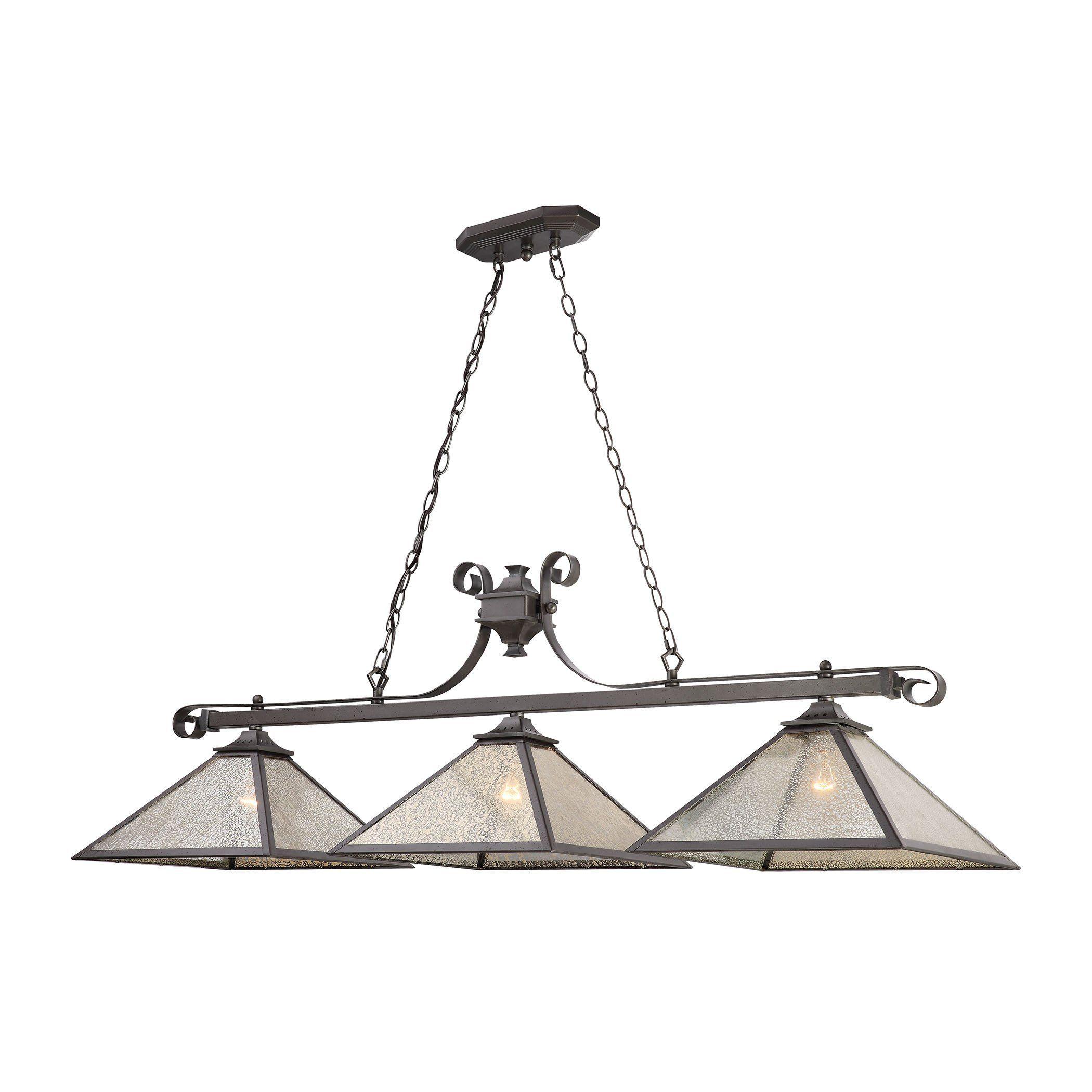 Plano 3 Light Billiard In Iron Rust With Mercury Glass 70276/3