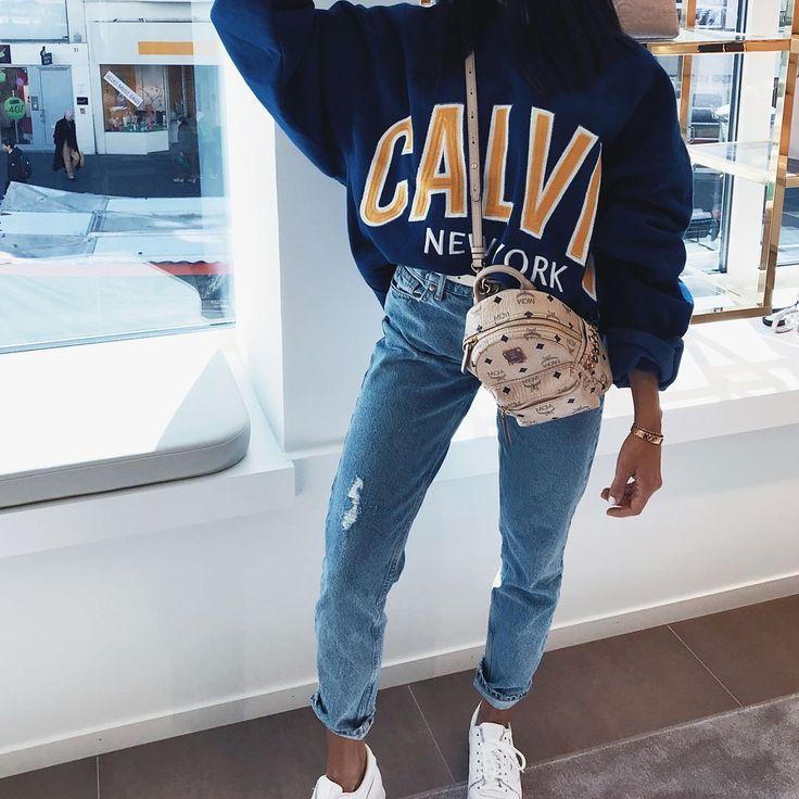 logo sweater + blue denim | casual wear style inspo