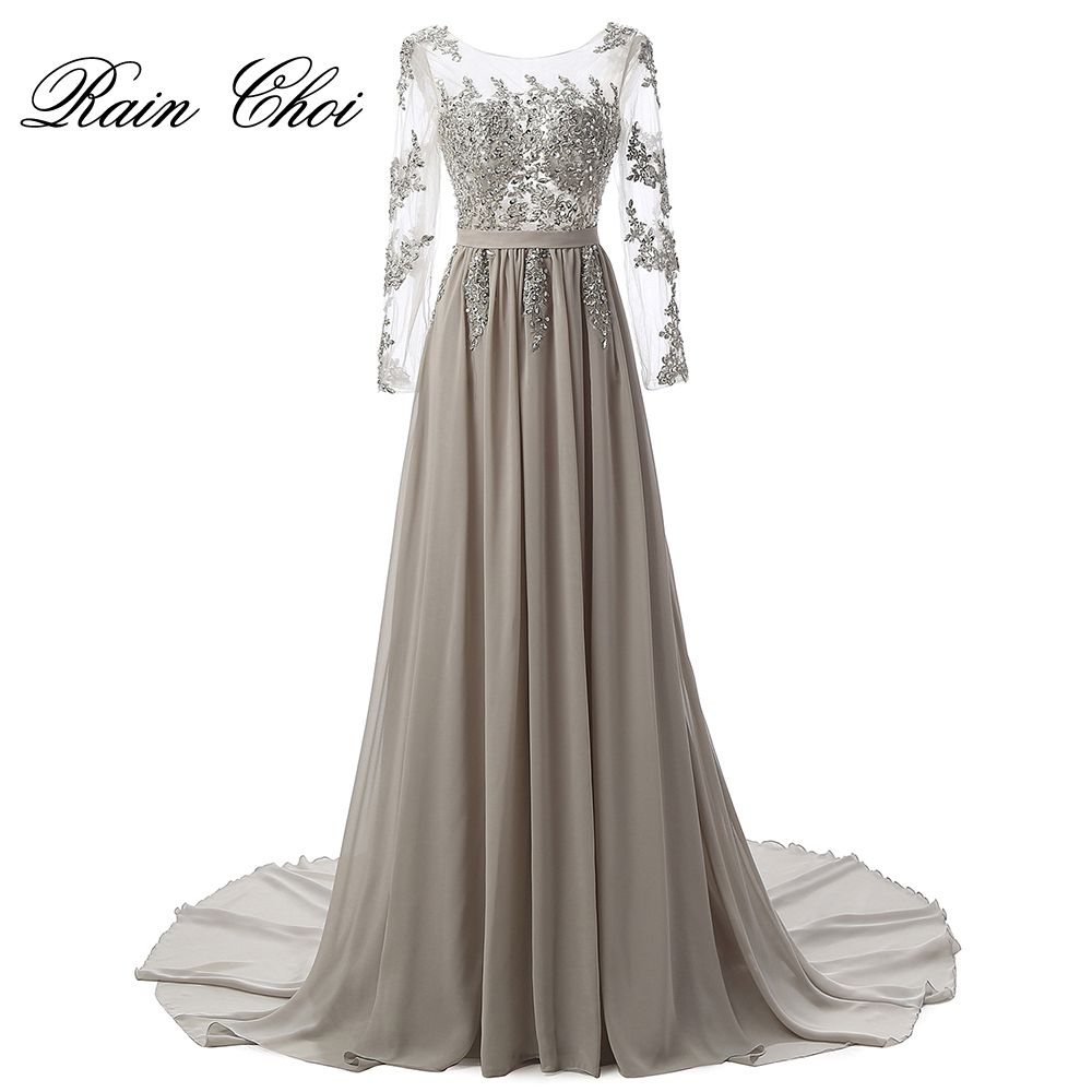 Real photo long sleeves formal evening gown gray elegant long prom