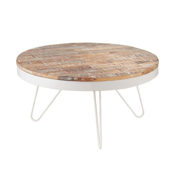Nautical Cape Cod Round White Coffee Table With Washed Wooden Top Cc Home