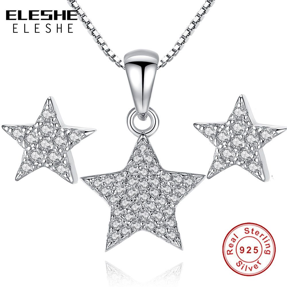 Jewelry set for women full of clear cz crystal wish star pendant