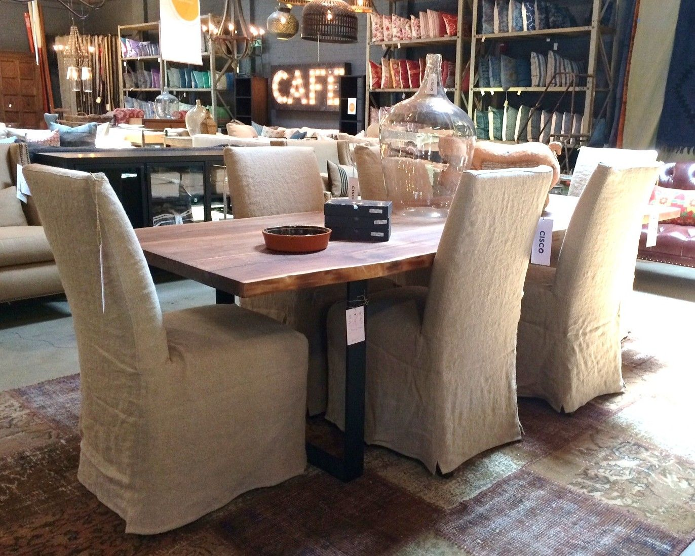 Ordinaire Acacia Table. Live Edge. One Of A Kind. Parson Chairs. Brevard Burlap.  Vintage Rug. Sustainable. Cisco Home. Pasadena, CA. 474 S. Arroyo Parkway.