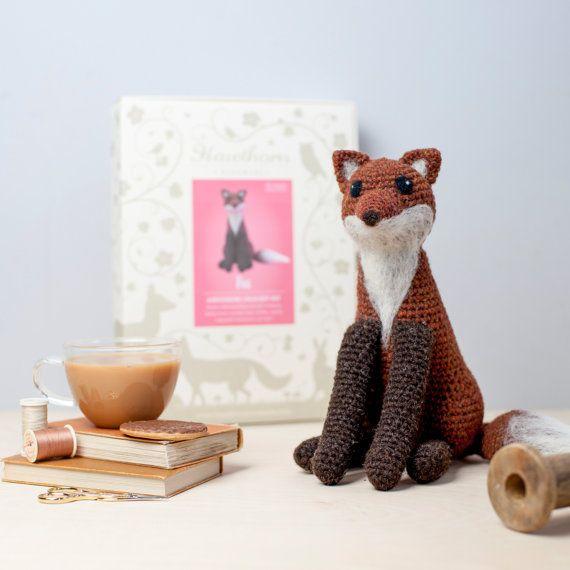 Fox Crochet Kit - Amigurumi Crochet Fox Kit - craft set gift - crochet fox project - fox craft kit for adults - textiles project #affiliate