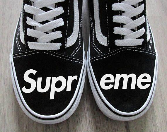 9bf105a0f1 Supreme Box Logo Inspired Custom Vans Old Skool Shoes Unisex ...