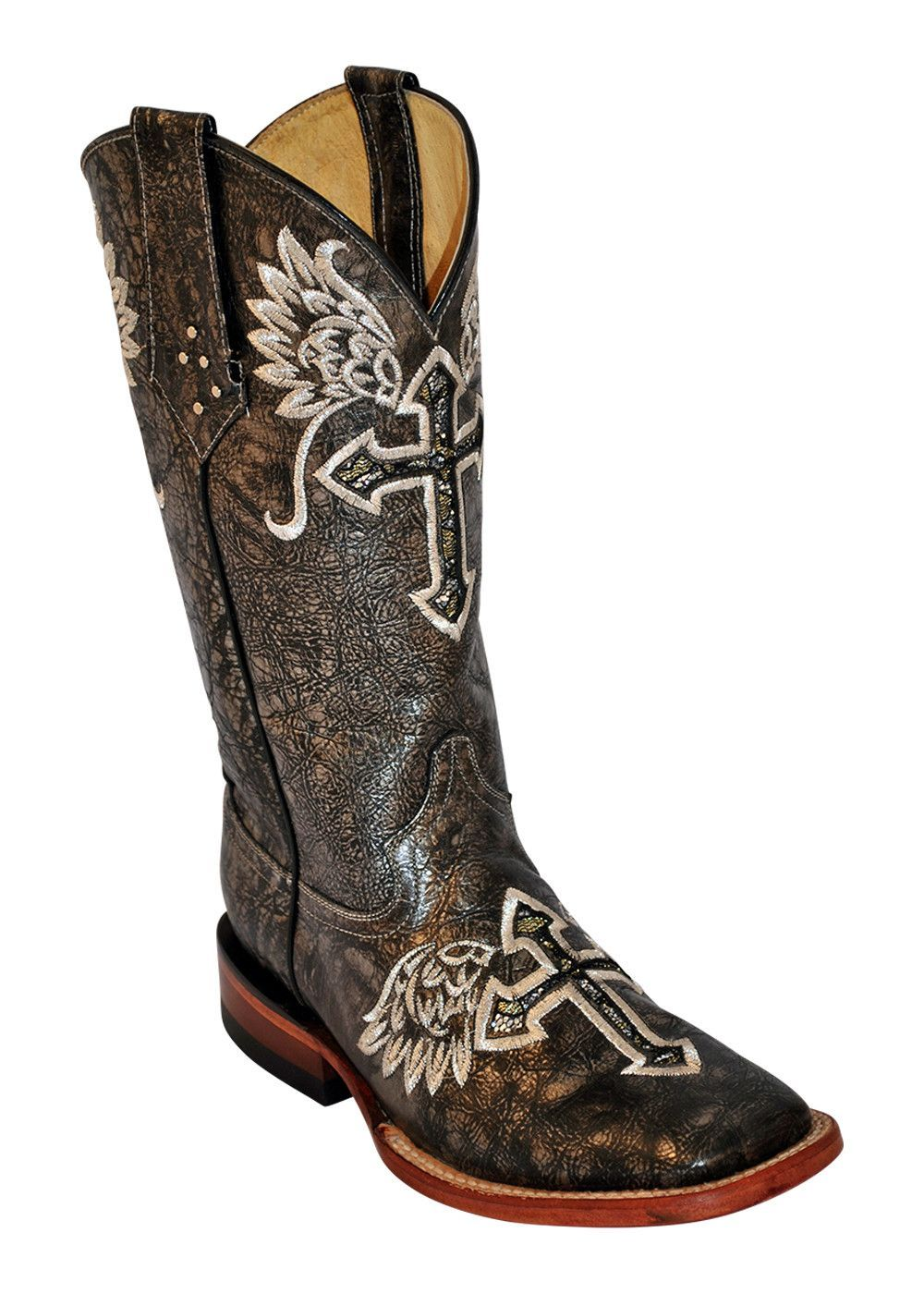 Ferrini Ladies Silver Metallic Angel Cross S-Toe Cowboy Boots ...