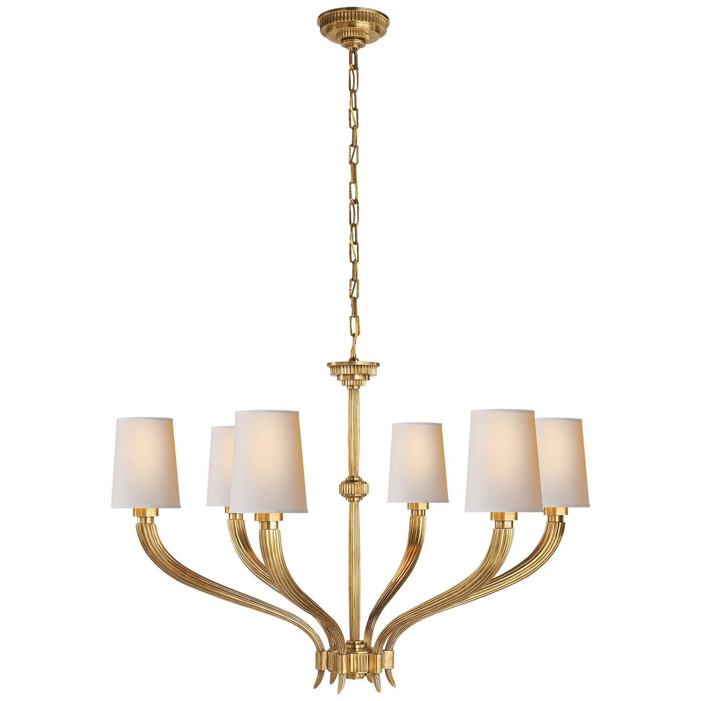 Antique Burnished Brass with Natural Paper Shades