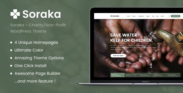 Soraka Charity Non Profit Organization Wordpress Theme Charity Church Dgtthemes Donate Donation Founda Fundraising Organization Non Profit Charity