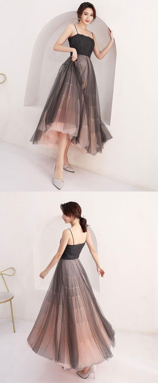 High quality black tulle short prom dress homecoming dress in