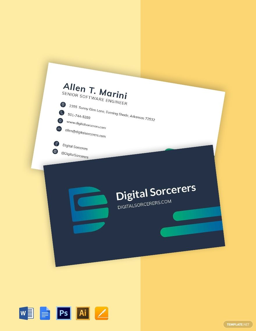 Software Company Engineer Business Card Template Word Psd Apple Pages Google Docs Illustrator Business Card Template Word Business Card Template Card Template
