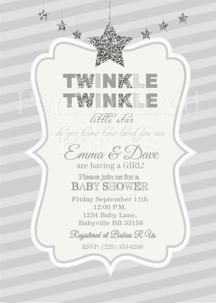 Twinkle Twinkle Little Star baby shower invitations in silver | Star ...