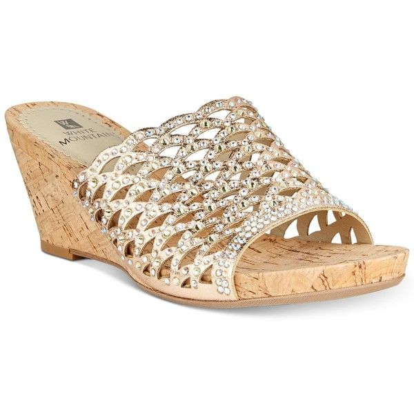 32340a6f3cc White Mountain Amal Embellished Wedge Sandals ( 69) ❤ liked on Polyvore  featuring shoes