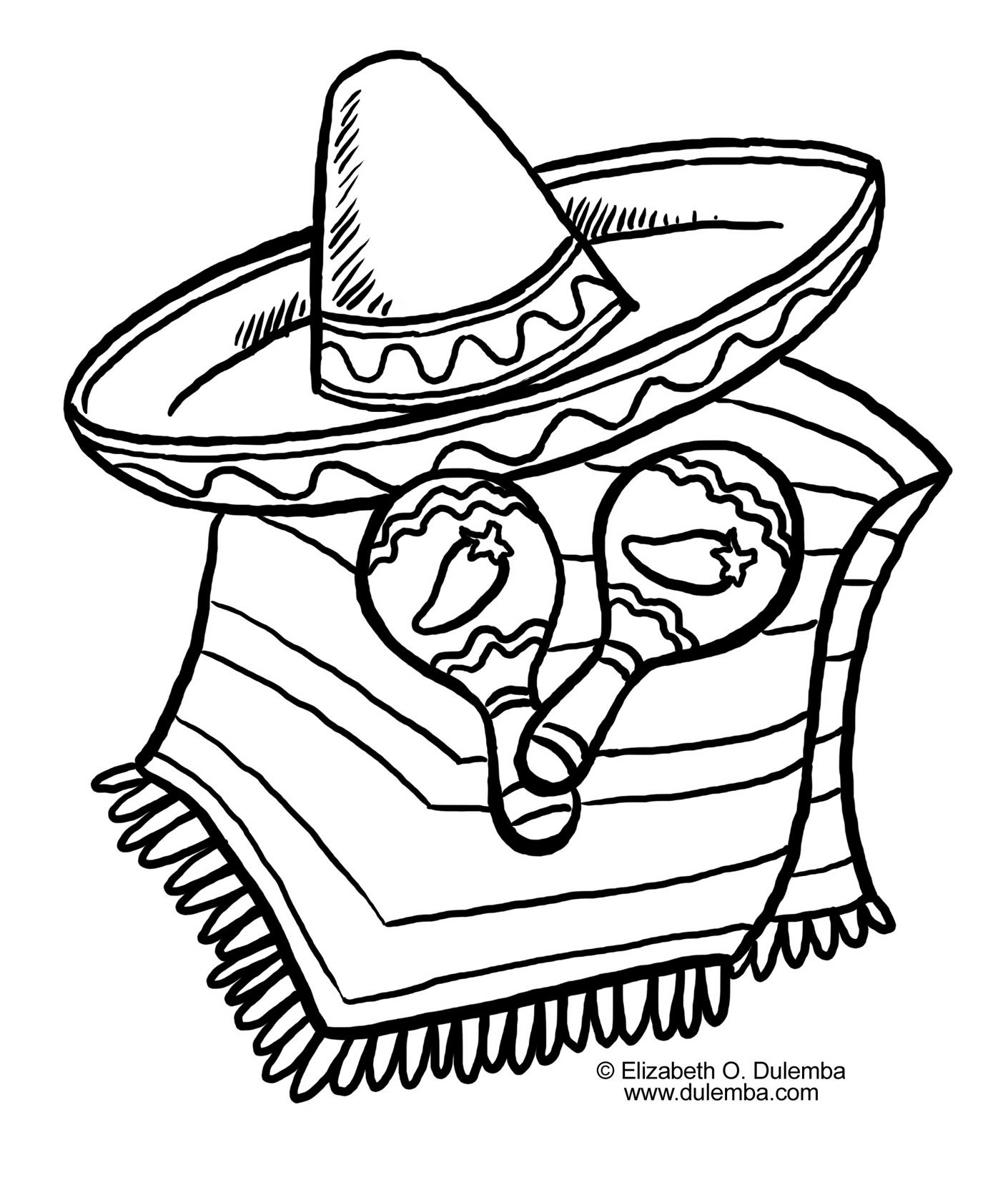 Drawings Of Cactus With Sombrero And Maracas