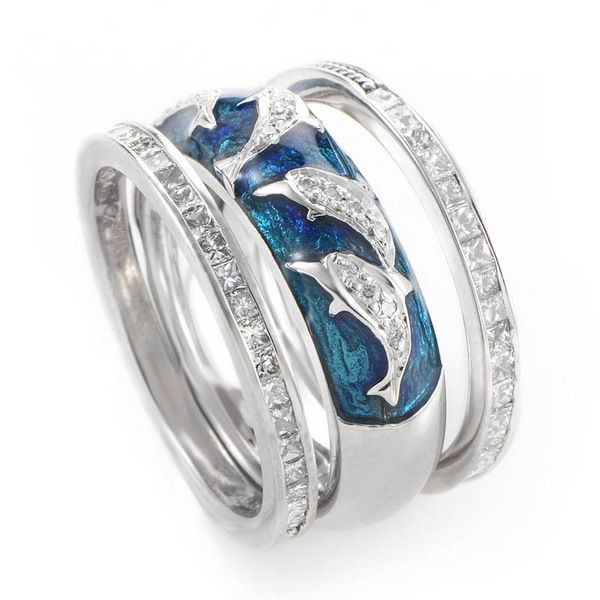 Simple dolphin wedding ring sets on our animal jewelry above and more