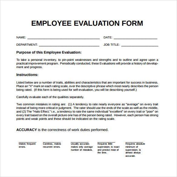 Employee Performance Evaluation Form Employee Evaluation Form Evaluation Employee Evaluation Form