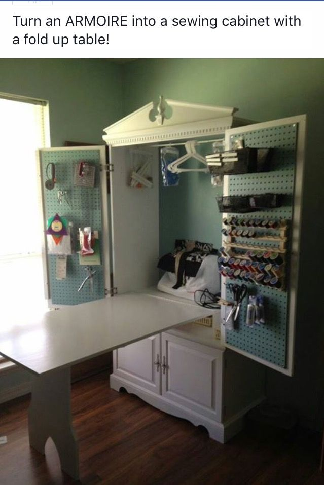 Turn An Armoire Into A Sewing Crafting Cabinet With A Fold Up Table Sewing Rooms Sewing Cabinet Craft Room Storage