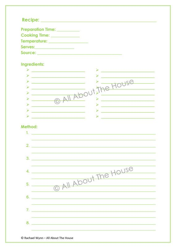 Printable Recipe Sheet Template - Meal Planning - 2 sheets - Product