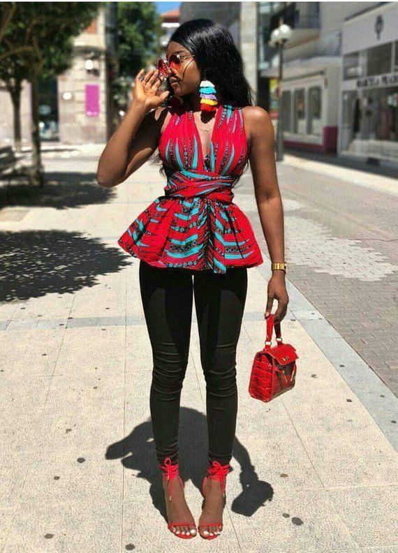 African Print/ Ankara Blouse / African Clothing/ Ankara Print - #africaine #African #Ankara #blouse #Clothing #print #africanfashionankara