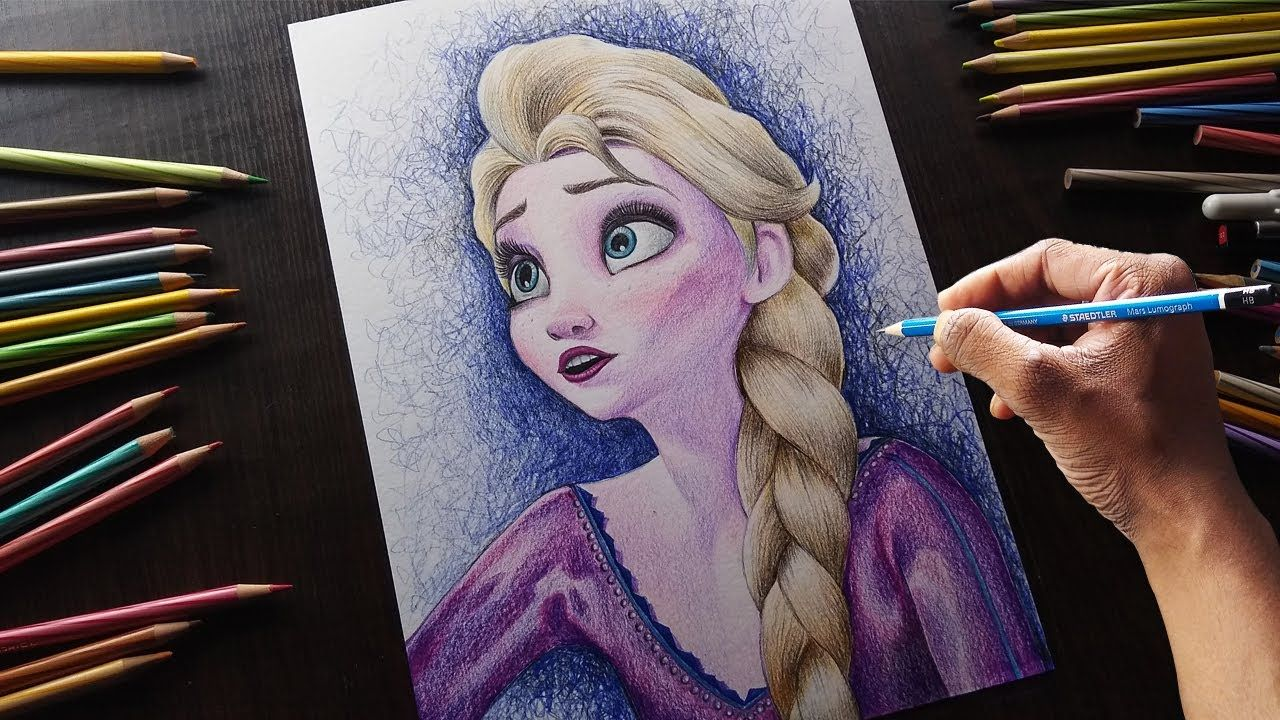 How To Draw Frozen Step By Step Frozen 2 Elsa Drawing Elsa Drawing Drawings Frozen Drawings