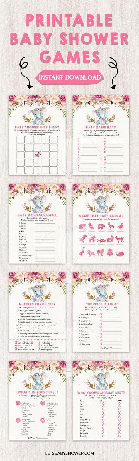 Elephant Baby Shower for Girls Baby Shower Game Printables | DIY ...