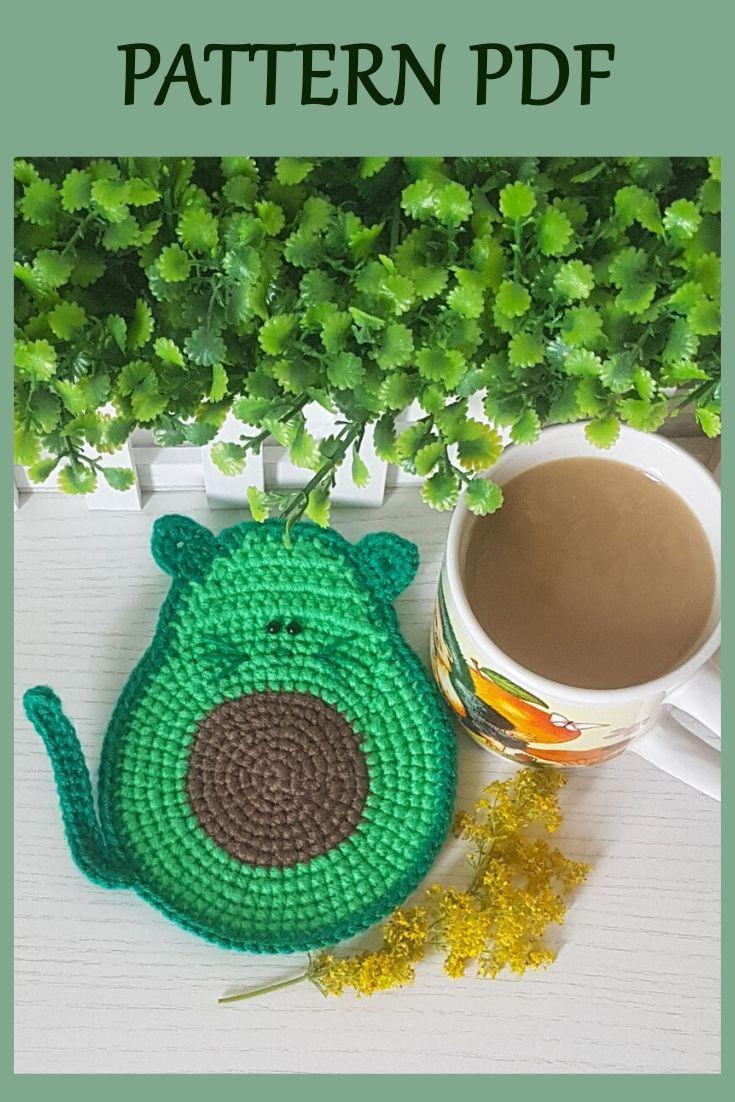 Avocado-Cat Coaster Crochet Pattern, Crochet Cat P