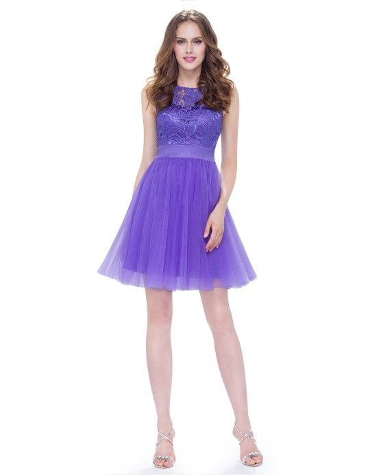 e5ca0e0ce0 Short Fit and Flare Bridesmaid Dress with Lace Bodice and Bow