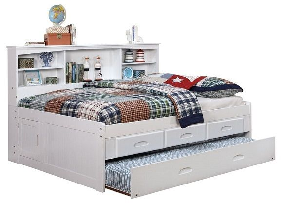 Addie White Big Bookcase Full Trundle Bed with Storage