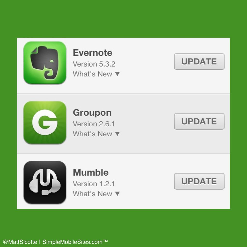 MobileApp Updates Evernote Pinterest Groupon