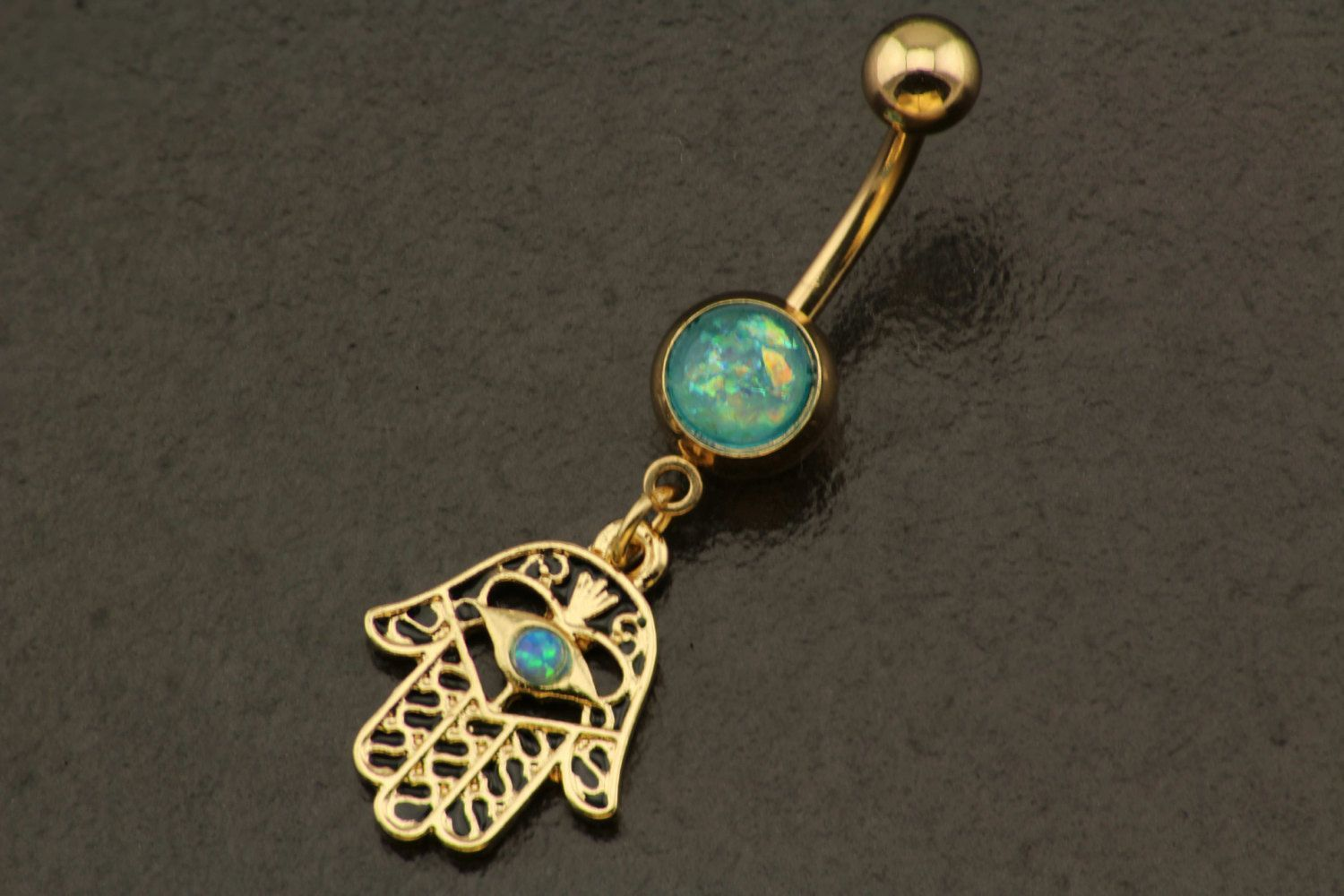 Belly button piercing jewellery  Real Opal Belly Button Ring Jewelry Gold Hamsa Bohemian Belly Ring