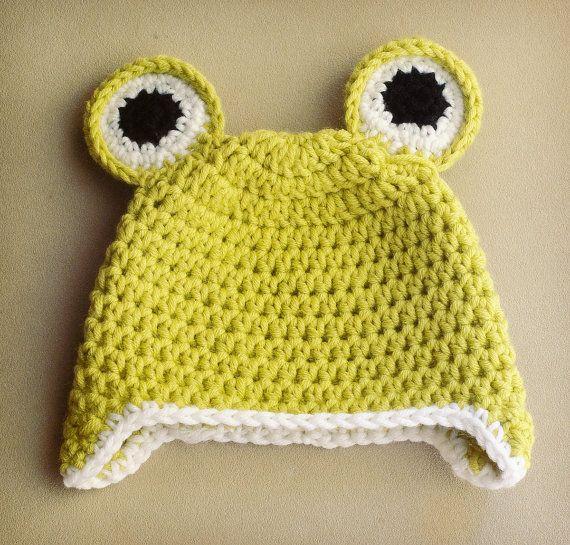 ae33f6dcd Freddy the froggy, crochet baby hat, quality wool blend yarn, sizes ...