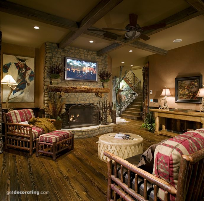 cabin style family room   Rustic Living   Mountain house ... on