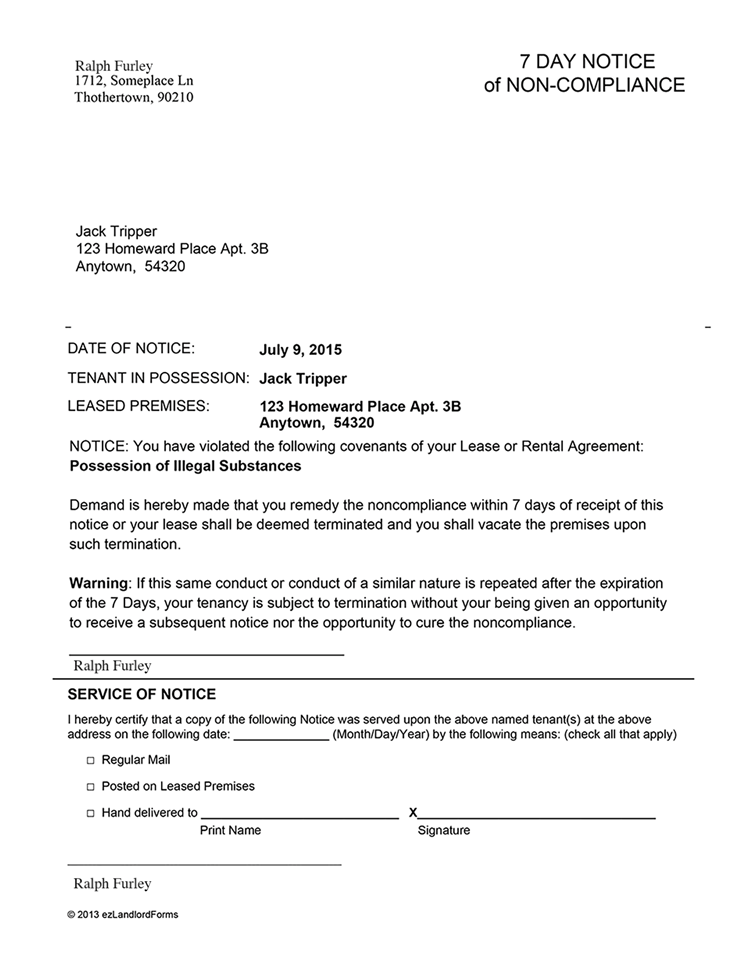Florida 7 Day Notice Of Non Compliance Ez Landlord Forms Being A Landlord Tenants Lettering