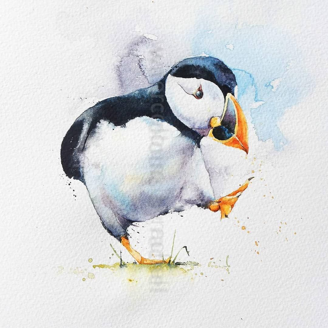 Have A Very Happy Monday X Watercolour Birds Painting Art
