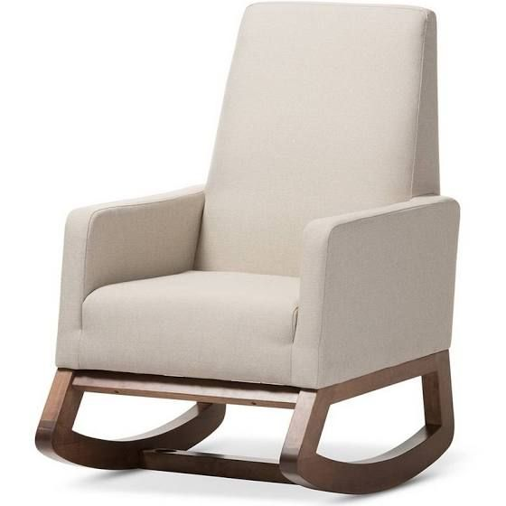 Rocking Chair White Fabric Wood Upholstered Chairs Fabrics Living Room Furniture