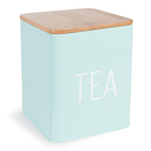 boîte à thé en métal bleue pastel | scandinavian living room