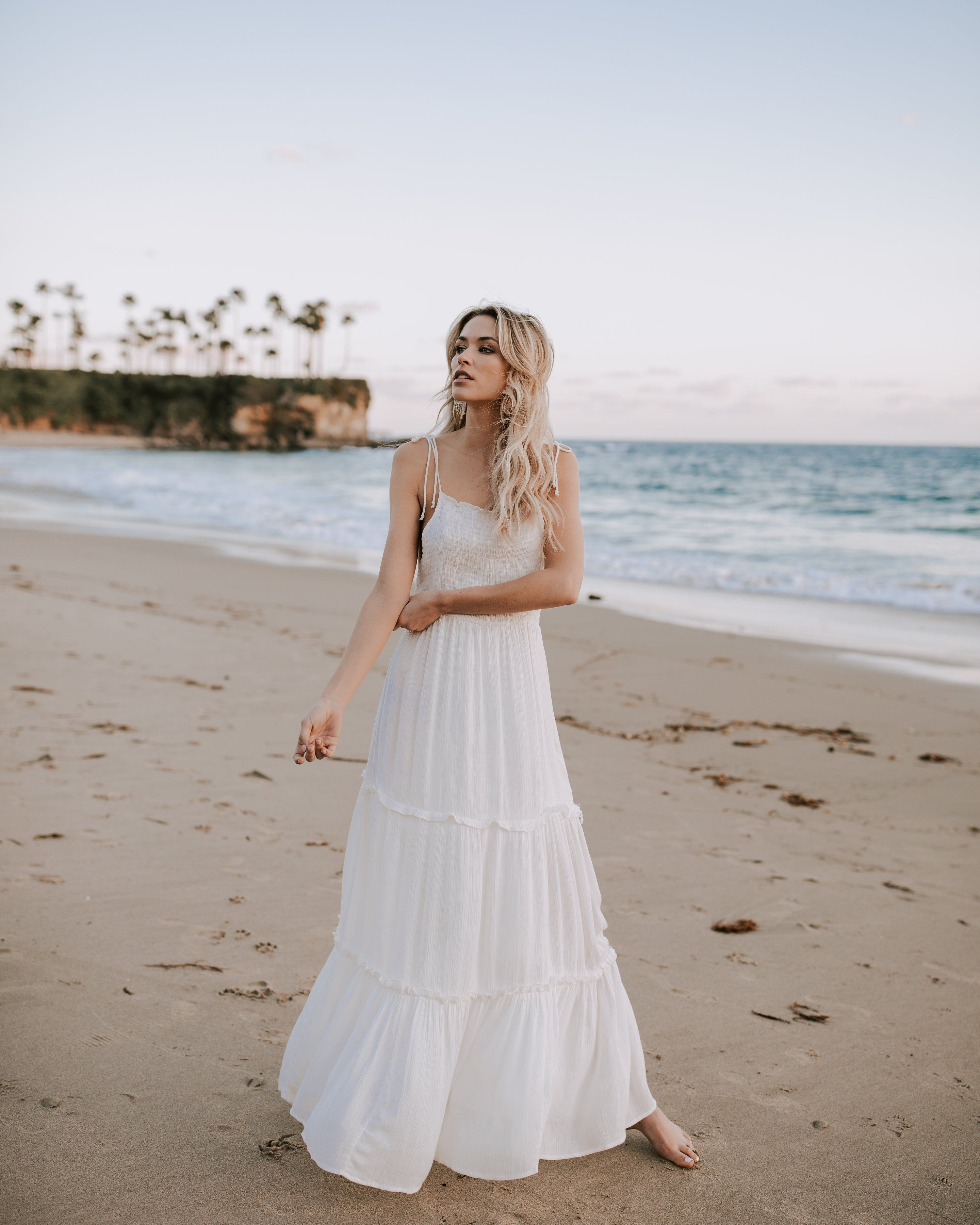 59291c3662 Ethereal Tiered Smocked Maxi Dress Beachy Maxi Dress, Off White Dresses,  Casual Dresses,