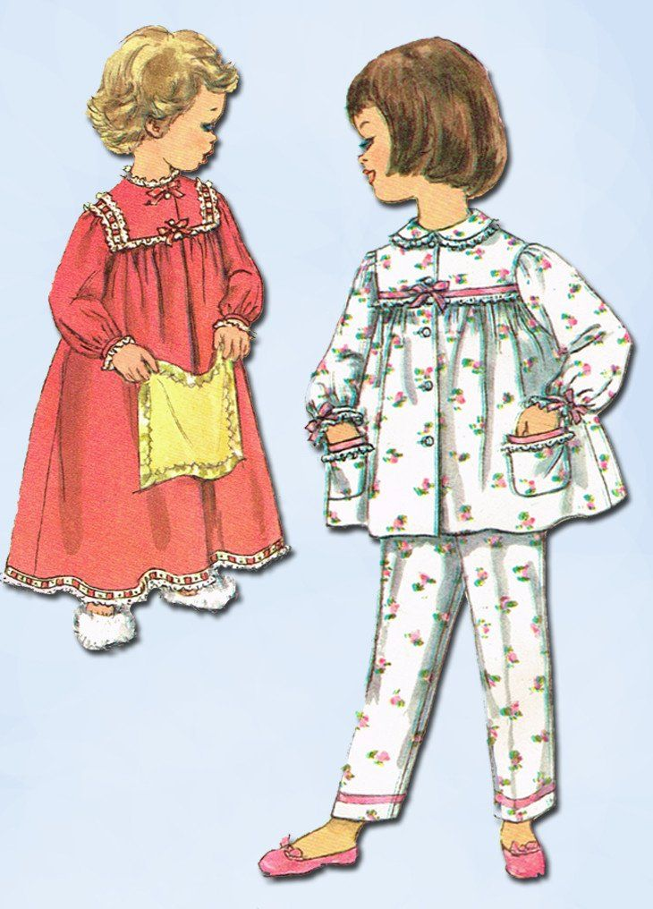 Simplicity Pattern 3243 Toddler Girl s Nightgown Pattern Makes 2 Piece  Pajamas Too Dated 1959 Complete Nice Condition 11 of 11 Pieces Counted.  Verified. 6094cffbb