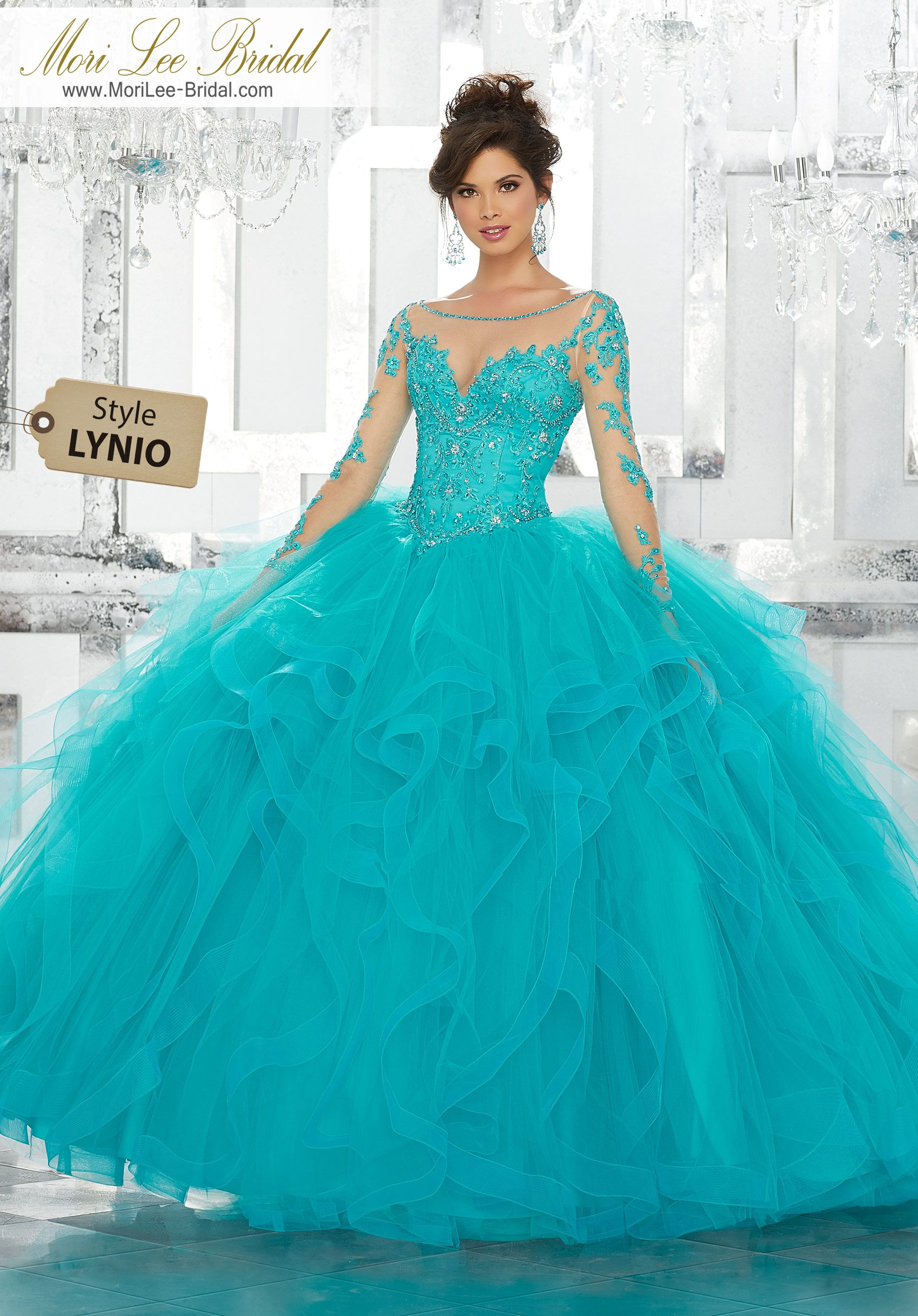 9b939c329 Style LYNIOBeaded Embroidery on Net with Flounced Tulle Ball Gown SkirtThis  Gorgeous Quinceañera Ballgown Features a Beaded and Embroidered Bodice  Accented ...