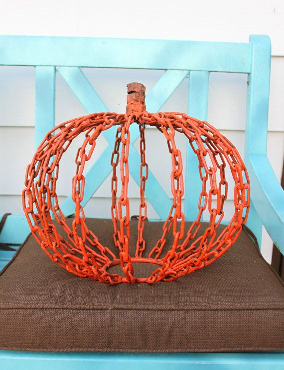 hand made metal pumpkin fall sculpture found art metal welded art halloween decoration - Metal Halloween Decorations